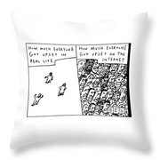 Two Panels: How Much Everyone Got Upset In Real Throw Pillow by Bruce Eric Kaplan