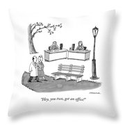 Two Passersby In The Park Shout At A Man Throw Pillow