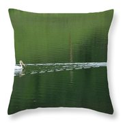 Two Pelicans On Lake Throw Pillow