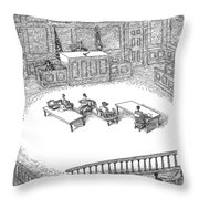 Two People Sit On A Modern-looking Curved Bench Throw Pillow