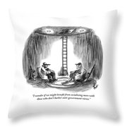 Two People Sitting In Chairs In A Bunker Throw Pillow