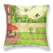 Two People Sitting On Their Back Patio Throw Pillow