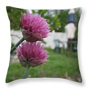 Two Pink Chives Throw Pillow