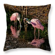 Two Pink Spoonbills Throw Pillow