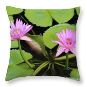 Two Pink Water Lilies Throw Pillow