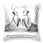Two Praying Mantises Facing Each Other Throw Pillow
