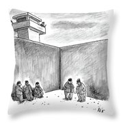Two Prisoners Talk In The A Prison Yard Throw Pillow