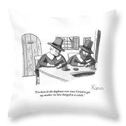 Two Puritan Men Sit At A Bar Together Throw Pillow