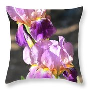 Two Purple Irises Throw Pillow