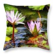 Two Purple Water Lotus Throw Pillow