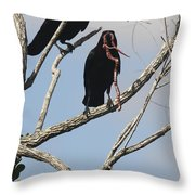 Two Raven With A Snake Throw Pillow