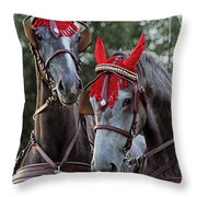 Two Red Devils Throw Pillow