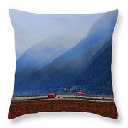 Two Red Farm Buildings Throw Pillow