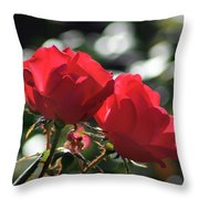 Two Red Roses Throw Pillow