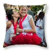 Two Red Tutus At Running Of The Bulls Throw Pillow