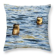 Two River Otters Throw Pillow