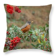 Two Robins Eating Berries Throw Pillow