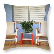 Two Rocking Chairs On The Porch Throw Pillow