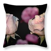 Two Roses And A Fly Throw Pillow by Tomasz Dziubinski