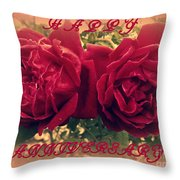 Two Roses. Happy Anniversary Throw Pillow