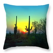 Two Saguaro Throw Pillow