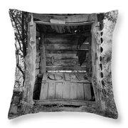 Two-seater Outhouse Throw Pillow