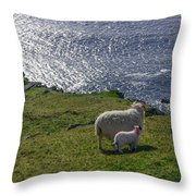 Two Sheep On The Cliffs At Sleive League - Donegal Ireland Throw Pillow