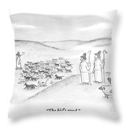 Two Shepherds With Conventional Sheep Look Throw Pillow