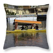 Two Shikaras Next To Each Other In The Dal Lake Throw Pillow