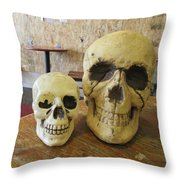 Two Skulls - At The Cafe Throw Pillow