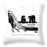 Two Sluggish Bears Converse By A Fish-filled Throw Pillow