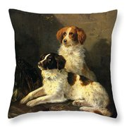 Two Spaniels Waiting For The Hunt Throw Pillow by Henriette Ronner Knip