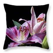 Two Star Lilies Throw Pillow