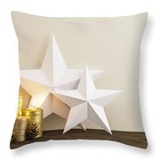 Two Stars With Golden Candles Throw Pillow