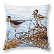 Two Stilts At The Pond Throw Pillow