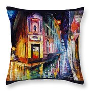 Two Streets - Palette Knife Oil Painting On Canvas By Leonid Afremov Throw Pillow