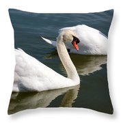 Two Swimming Swans Throw Pillow