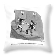 Two Swordfighters On A Staircase Grasp The Handle Throw Pillow