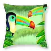 Two Toucans Throw Pillow