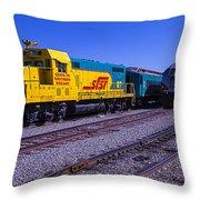 Two Trains Throw Pillow