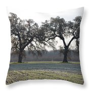 Two Tree Frosty Morning Throw Pillow