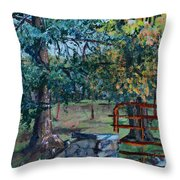 Two Trees And A Gate Throw Pillow