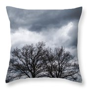 Two Trees Beneath A Dark Cloudy Sky Throw Pillow