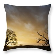Two Trees Greeting The Sun Throw Pillow