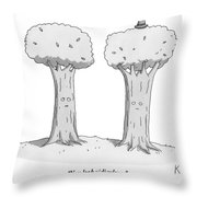 Two Trees With Faces Are Seen Next To Each Other Throw Pillow