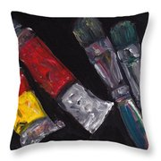 Two Tubes Two Brushes Throw Pillow
