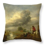 Two Vedettes On The Watch By A Stream Throw Pillow