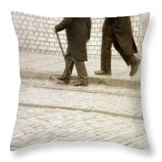 Two Victorian Men Walking Throw Pillow