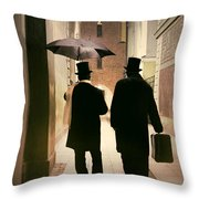 Two Victorian Men Wearing Top Hats In The Old Alley Throw Pillow