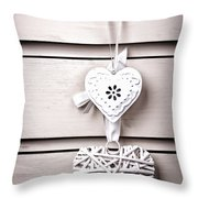 Two Vintage Hearts Throw Pillow by Jane Rix